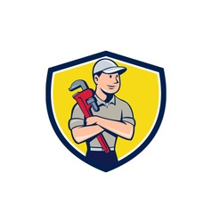Plumber Arms Crossed Crest Cartoon vector image