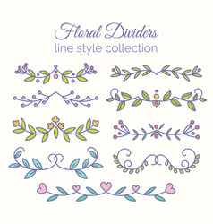 Flourishes hand drawn dividers set line style vector