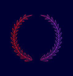 Laurel wreath sign  line icon with vector