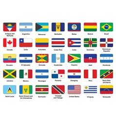 American countries flag icons vector image