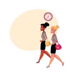 Young businesswomen black and caucasian hurrying vector