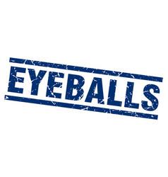 Square grunge blue eyeballs stamp vector