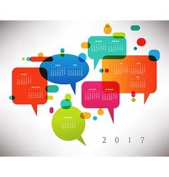 2017 Calendar with speech bubbles vector image vector image