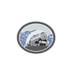 Steam Train Locomotive Mountains Retro vector image