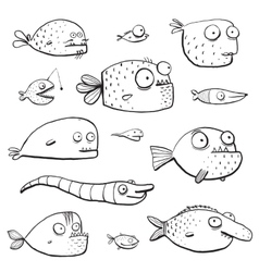 Black outline humor cartoon swimming fish vector