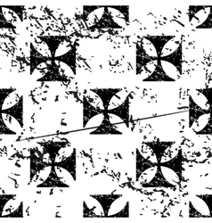 Maltese cross pattern grunge monochrome vector