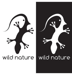 Lizard and head of bird negative space concept vector