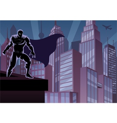 Superhero on roof vector