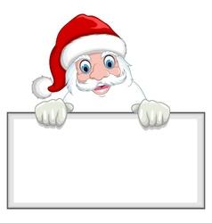 Santa clause cartoon holding blank sign vector image