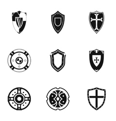Army shield icons set simple style vector