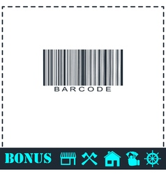 Bar code icon flat vector