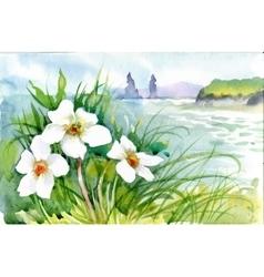Beautiful watercolor blooming flowers over summer vector
