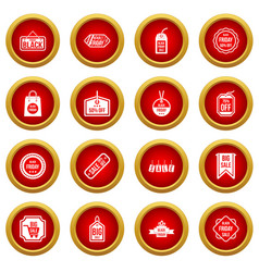 Black friday icon red circle set vector