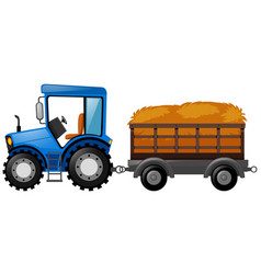 Blue tractor with wagon loaded with hay vector
