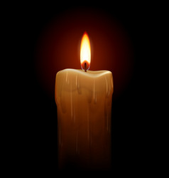 Burning candle on black background for design vector