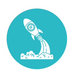 Circle light blue with space rocket launch vector