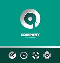 Circle silver metal dots logo icon green vector