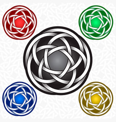 Circular logo template in celtic knots style vector