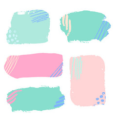 Colorful hand drawn brush stroke banners set vector