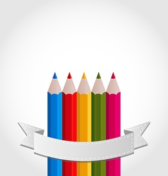 Colorful pencils with ribbon on white background vector image vector image