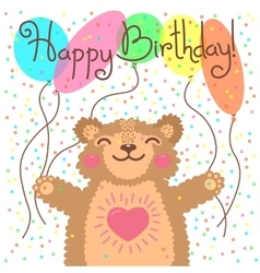 Cute happy birthday card with funny bear vector image vector image