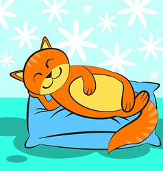 Cute orange cat sleeping on blue and a soft pillow vector image