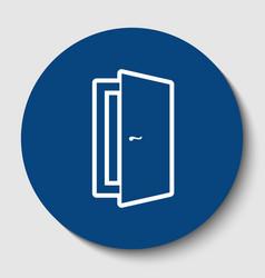 Door sign white contour icon vector