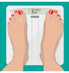 Electronic scales and female feet with pedicure vector