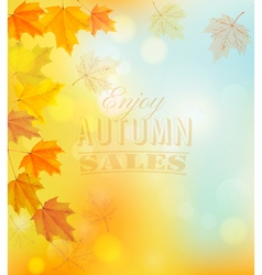 Enjoy autumn sales banner with colorful leaves vector