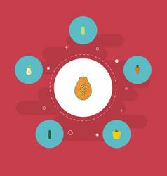 flat icons salad pumpkin pawpaw and other vector image vector image