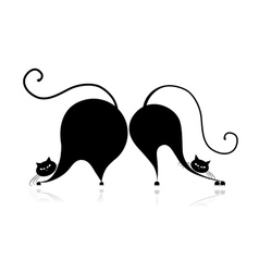 Funny big cats silhouette for your design vector