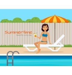 Girl in swimsuit on lounge near the pool vector