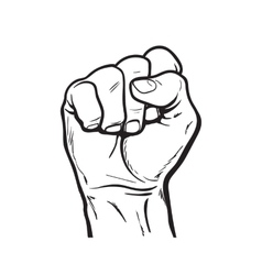 Hand shows the fist as a symbol of power vector