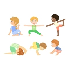 Kids doing advanced yoga poses vector