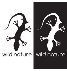 Lizard and head of bird negative space concept vector