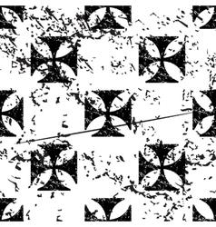 Maltese cross pattern grunge monochrome vector