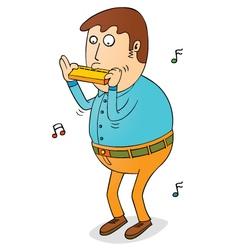 Man playing harmonica vector