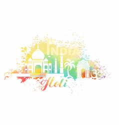 Postcard for the holiday of holi in india vector