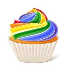 Rainbow cupcake love wins vector