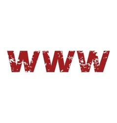 Red grunge www logo vector image