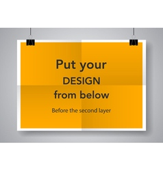Twice a folded poster with clamps vector