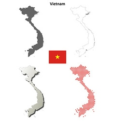 Vietnam outline map set vector