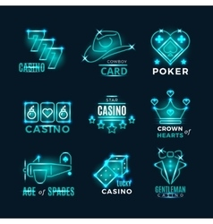 Vintage neon poker tournament and casino vector image vector image