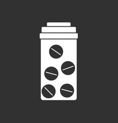 White icon on black background bank with pills vector