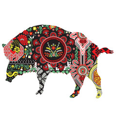 Wild boar with patterns vector