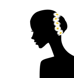 Woman profile with chamomiles in her hair vector image vector image