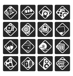 Black computer performance and equipment icons vector