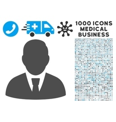 Manager icon with 1000 medical business pictograms vector