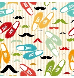 Retro shoes seamless background vector