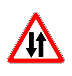 Road sign warning two way traffic on white vector